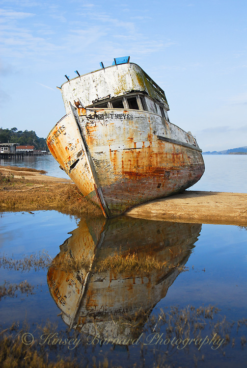 &quot;POINT REYES RELIC&quot;<br /> <br /> Painting like photographic image of an old fishing boat/trawler, the Point Reyes, run aground on a sand bar in Tomales Bay. Blues skies. Blue water. Rusty reflections. This old gal has seen her better days come and go.