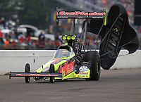 Aug 20, 2016; Brainerd, MN, USA; NHRA top fuel driver J.R. Todd during qualifying for the Lucas Oil Nationals at Brainerd International Raceway. Mandatory Credit: Mark J. Rebilas-USA TODAY Sports