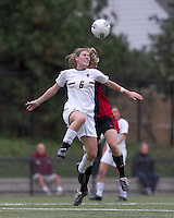 Boston College defender Alyssa Pember (6) and NC State midfielder Kristina Argiroff (15) battle for head ball.  Boston College defeated North Carolina State,1-0, on Newton Campus Field, on October 23, 2011.
