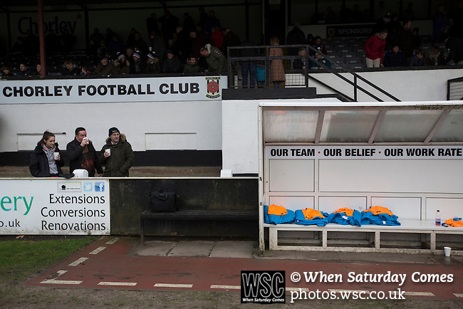 Chorley 2 Altrincham 0, 21/01/2017. Victory Park, National League North. Spectators waiting for the players to come on to the pitch at Victory Park, before Chorley played Altrincham in a Vanarama National League North fixture. Chorley were founded in 1883 and moved into their present ground in 1920. The match was won by the home team by 2-0, watched by an above-average attendance of 1127. Photo by Colin McPherson.