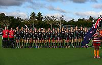 National Anthem during the international hockey match between the Blacksticks Women and India, Rosa Birch Park, Pukekohe, New Zealand. Sunday 14  May 2017. Photo:Simon Watts / www.bwmedia.co.nz