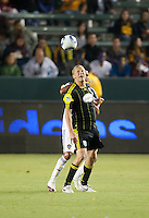Columbus Crew forward Steven Lenhart (32) heads ball during the second half of the game between LA Galaxy and the Columbus Crew at the Home Depot Center in Carson, CA, on September 11, 2010. LA Galaxy 3, Columbus Crew 1.