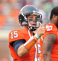 Sept. 3, 2011 - Charlottesville, Virginia - USA; Virginia Cavaliers quarterback Ross Metheny (15) signals during an NCAA football game against William & Mary at Scott Stadium. Virginia won 40-3. (Credit Image: © Andrew Shurtleff