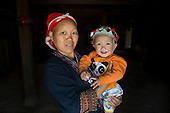 Hmong tribe mother holding baby, Vietnam