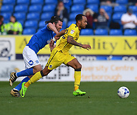 Peterborough United's Michael Bostwick (L) vies for possession with Peterborough United's Adil Nabi (R)<br /> <br /> Peterborough 4 - 2 Bristol Rovers<br /> <br /> Photographer David Horton/CameraSport<br /> <br /> The EFL Sky Bet League One - Peterborough v Bristol Rovers - Saturday 22nd April 2017 - ABAX Stadium - Peterborough <br /> <br /> World Copyright &copy; 2017 CameraSport. All rights reserved. 43 Linden Ave. Countesthorpe. Leicester. England. LE8 5PG - Tel: +44 (0) 116 277 4147 - admin@camerasport.com - www.camerasport.com