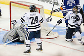Jason Torf (Air Force - 29), Chris Cahill (Yale - 24), Chad Ziegler (Yale - 59) - The Yale University Bulldogs defeated the Air Force Academy Falcons 2-1 (OT) in their East Regional Semi-Final matchup on Friday, March 25, 2011, at Webster Bank Arena at Harbor Yard in Bridgeport, Connecticut.
