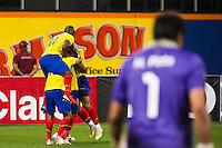Jefferson Montero (9) of Ecuador celebrates scoring with teammates . Ecuador defeated Chile 3-0 during an international friendly at Citi Field in Flushing, NY, on August 15, 2012.