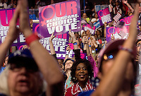 CHARLOTTE, NC - September 5, 2012 - Crowd at the 2012 Democratic National Convention at the Time Warner Cable Arena.
