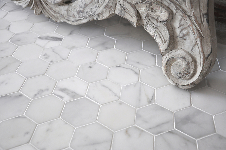 7 cm Hex shown in honed Statuary Carrara is part of New Ravenna's Studio Line. All mosaics in this collection are ready to ship within 48 hours. <br />