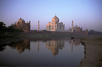 India, Uttar Pradesh, Taj Mahal, looking across the Yamuna River