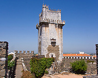 Castelo, Portuguese military architecture of marble, 14th C, Beja, Portugal