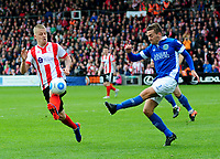 Lincoln City's Terry Hawkridge closes down Macclesfield Town's David Fitzpatrick<br /> <br /> Photographer Andrew Vaughan/CameraSport<br /> <br /> Vanarama National League - Lincoln City v Macclesfield Town - Saturday 22nd April 2017 - Sincil Bank - Lincoln<br /> <br /> World Copyright &copy; 2017 CameraSport. All rights reserved. 43 Linden Ave. Countesthorpe. Leicester. England. LE8 5PG - Tel: +44 (0) 116 277 4147 - admin@camerasport.com - www.camerasport.com
