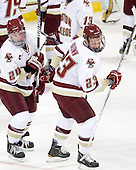 Bill Arnold (BC - 24), Patrick Brown (BC - 23) - The Boston College Eagles defeated the visiting Merrimack College Warriors 3-2 on Friday, October 29, 2010, at Conte Forum in Chestnut Hill, Massachusetts.