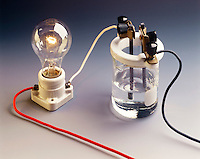 CONDUCTIVITY TEST - Acetic acid solution<br /> (3 of 3 - Variations Available)<br /> Weak electrolytes dissociate (ionize) partially into ions in solution, providing few current carriers. The ions move toward the oppositely charged electrode giving up their charge. The bulb glows dimly. 1M CH3COOH(aq) is a weak electrolyte.