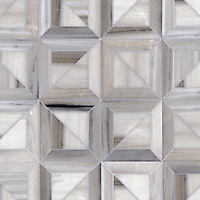 Newman, a stone waterjet mosaic shown in Skyline honed, is part of the Parquet Line by Sara Baldwin for New Ravenna Mosaics.