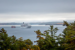 Schooner and cruise ship in Frenchman Bay, Bar Harbor, Maine, USA
