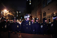 NYPD Police Officers Escorts Protesters affiliated with the Occupy Wall Street movement take part in a protest called Occupy 2.0 as they marking the 3th Month aniversary in New York, United States. 02/12/2011.  Photo by Kena Betancur / VIEWpress.