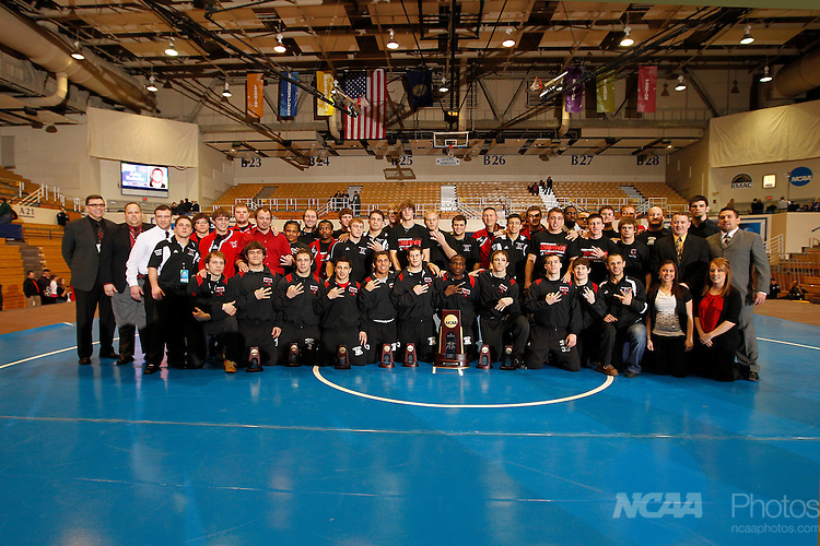 12 MAR 2011:  The 2011 Division II National Champion University of Nebraska-Omaha team with their trophy during the Division II Men's Wrestling Championship held at the UNK Health and Sports Center on the University of Nebraska - Kearney campus in Kearney, NE.    Corbey R. Dorsey/ NCAA Photos