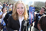 Chelsea Clinton, daughter of presidential candidate Hillary Clinton and former US president Bill Clinton, speaks to a gathering of Clinton supporters, Feb. 22, 2008, at San Antonio College, San Antonio, Texas. (Darren Abate/PressPhotoIntl.com)
