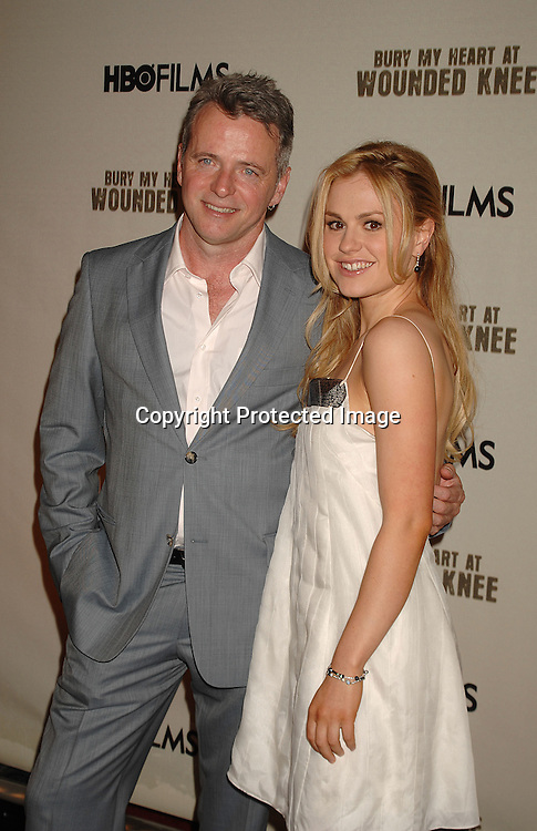 """Aidan Quinn and co-star Anna Paquin..posing for photographers at The HBO Screening of """"Bury My Heart at Wounded Knee"""" on May 23, 2007 at ..The American Museum of Natural History. Aidan quinn, Anna Paquin, Adam Beach and August Schellenberg star in the movie which iaurs on HBO on May 27, 2007..Robin Platzer, Twin Images......212-935-0770"""