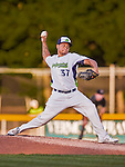 20 August 2015: Vermont Lake Monsters pitcher Angel Duno on the mound against the Tri-City ValleyCats at Centennial Field in Burlington, Vermont. The Stedler Division-leading ValleyCats defeated the Lake Monsters 5-2 in NY Penn League action. Mandatory Credit: Ed Wolfstein Photo *** RAW Image File Available ****