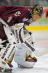 "19 January 2007: Boston College goaltender Corey Schneider from Marblehead, MA, waits out a break in the action during a Hockey East matchup against the University of Vermont at Gutterson Fieldhouse in Burlington, Vermont. The UVM Catamounts defeated the BC Eagles 3-2 before a record setting 50th consecutive sellout at ""the Gut""...Mandatory Photo Credit: Ed Wolfstein Photo."
