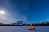 Winter camp under full moon light.