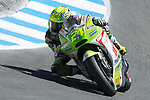 Pramac Racing's Toni Elias of Spain during the afternoon practice session for the U.S. MotoGP at Mazda Raceway Laguna Seca, Friday, July 27, 2012.