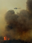 Greeley Hill, California - July 28, 2008- Wildfires Threaten Yosemite National Park .Helicopter drops water on spot fire off Bull Creek Road.  This spot fire is part of Branch Three of the Telegraph Fire on the north side of the Merced River.  This portion of the fire is threatening Greeley Hill. .This images was an editorial release  through Getty Images..Photo by Al Golub/Getty Images