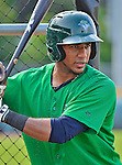 18 July 2013: Vermont Lake Monsters third baseman Luis Baez warms up prior to a game against the Aberdeen Ironbirds at Centennial Field in Burlington, Vermont. The Lake Monsters fell to the Ironbirds 5-1 in NY Penn League action. Mandatory Credit: Ed Wolfstein Photo