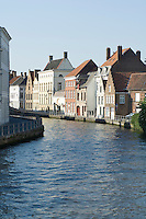 Belgium, Bruges, Old houses along canal