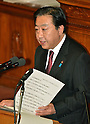 October 28, 2011, Tokyo, Japan - Japanese Prime Minister Yoshihiko Noda delivers his policy speech at a plenary session of the Diet's lower house in Tokyo on Friday, October 28, 2011. Noda stressed that the government is doing its utmost to cut costs in a bid to justify the tax burden needed to fund the 12.1 trillion yen disaster reconstruction budget. The prime minister also emphasized that hikes in income, corporate and local residential taxes are temporary and designed to cover what the government can't squeeze out of cost cuts and asset selling. (Photo by Natsuki Sakai/AFLO) [3615] -mis-