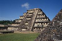 The Pyramid of the Niches at the Totonac ruins of El Tajin, Veracruz, Mexico. El Tajin is a UNESCO World Heritage site.