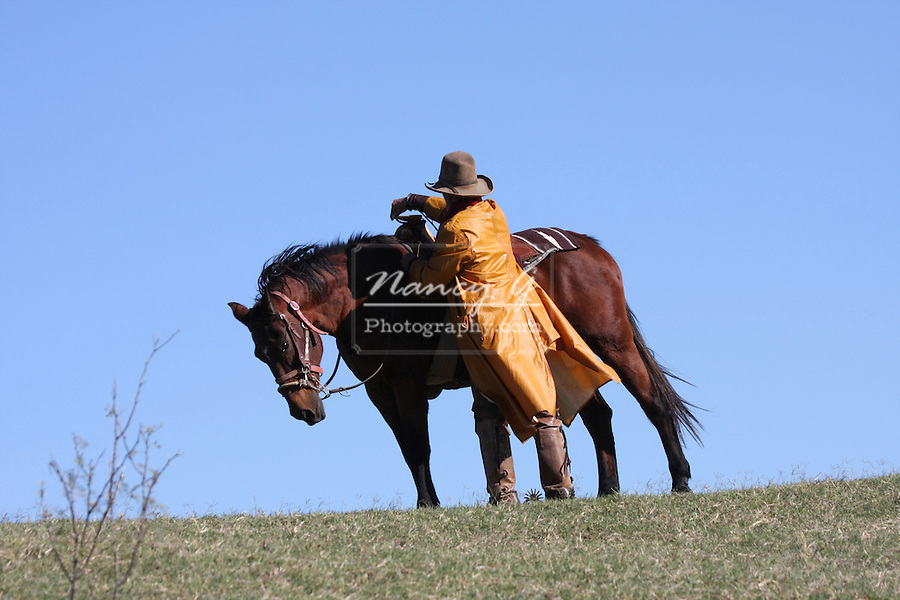 A cowboy preparing his horse for hard work on the ranch