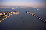 Aerial view of the Route 64 Bridge-Tunnel crossing the James River at Newport News-Hampton to Norfolk &amp; Virginia Beach in distance.  Fort Monroe at left (Historic Old Point Comfort) Hampton Roads, Virginia at the mouth of the Chesapeake Bay and the James River.
