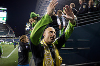 during play between the Seattle Sounders FC and the San Jose Earthquakes at CenturyLink Field in Seattle Saturday October 15, 2011. The Sounders FC won the game 2-1.