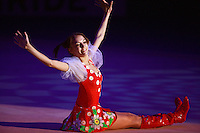 Evgenia Kanaeva of Russia finishes solo gala exhibition with 2-ribbons at 2008 European Championships at Torino, Italy on June 6, 2008.  Photo by Tom Theobald.