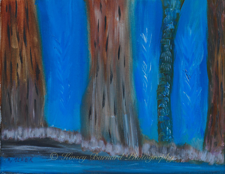 A haunting forest that only existed in my imagination until it popped up on a canvas.