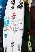 Margaret River, Western Australia (Wednesday, April 22, 2015) Adriano de Souza's surfbaord dedicated to Ricardo de Santos who was killed earleir this year. – The Men's contest in the 2015 Drug Aware Margaret River Pro was wrapped up today with Adriano de Souza defeating defending former event champion John John Florence (HAW) in the 40 minute final. The surf was in the 6'-8' range at The Main break and with light  offshore winds.  De Souza now leads the world tour rankings after a 3rd at the Quiksilver Pro Gold Coast, a 2nd at the Rip Curl Pro at Bells Beach and now a 1st  at Margaret River .Photo: joliphotos.com