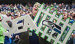 """Seattle Seahawks  fan Lorin """"Big Lo"""" Sandretzky  yells at the Tampa Bay Buccaneers at CenturyLink Field in Seattle, Washington on  November 3, 2013.  The Seahawks beat the Buccaneers 27-24 in overtime.  ©2013. Jim Bryant. All Rights Reserved."""