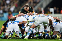 Duane Vermeulen of South Africa looks on from the back of a scrum. Rugby World Cup Bronze Final between South Africa and Argentina on October 30, 2015 at The Stadium, Queen Elizabeth Olympic Park in London, England. Photo by: Patrick Khachfe / Onside Images