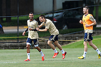 Prior to playing Manchester City in a friendly game at Busch Stadium, home of the St Louis Cardinals baseball team, Chelsea held a closed practice at Robert R Hermann Stadium on the campus of Saint Louis University..Chelsea players training.