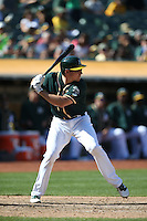 OAKLAND, CA - SEPTEMBER 10:  Matt McBride #29 of the Oakland Athletics bats against the Seattle Mariners during the game at the Oakland Coliseum on Saturday, September 10, 2016 in Oakland, California. Photo by Brad Mangin