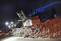 Ian Stewart/Yukon News<br /> Whitehorse city work crews clear snow from Sycamore Street in Porter Creek.
