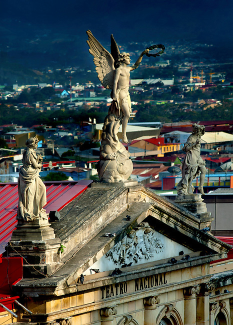Costa Rica, San Jose, National Theater, Statues, Front Entrance, Landmark