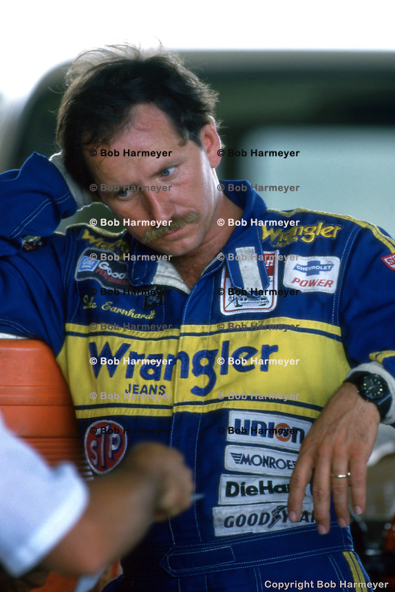 DAYTONA BEACH, FL - FEBRUARY 16: Dale Earnhardt in the garage area during practice for the Daytona 500 on February 16, 1986, at the Daytona International Speedway in Daytona Beach, Florida.