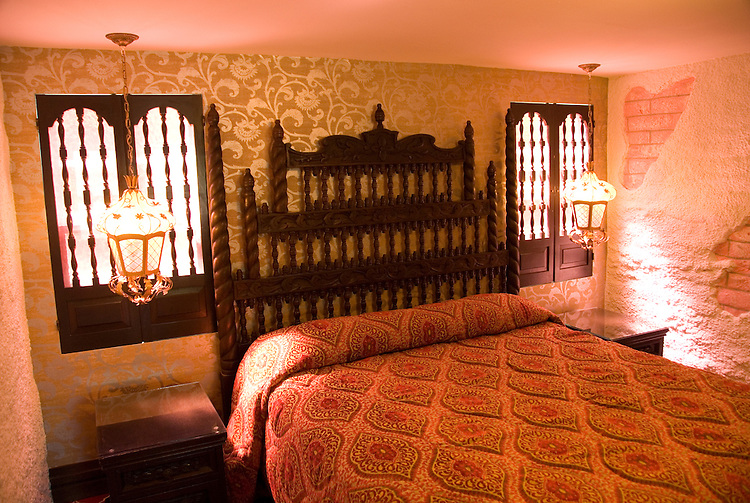 California, San Luis Obispo County: Madonna Inn room, San Luis Obispo.  Gaudy themed rooms at classic Americana lodging..Photo caluis163-70843. .Photo copyright Lee Foster, www.fostertravel.com, 510-549-2202, lee@fostertravel.com
