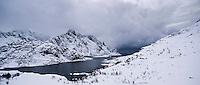 View towards village of Maervoll in Winter, Vestvågøy, Lofoten islands, Norway