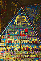 Dubai. United Arab Emirates.  Pyramidal stained glass rooflight on Egyptian themes at the Wafi Centre/Center shopping mall..