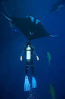 QT2359-D. Manta Rays (Manta birostris) and scuba divers (model released). Baja, Mexico, Pacific Ocean.<br /> Photo Copyright &copy; Brandon Cole. All rights reserved worldwide.  www.brandoncole.com